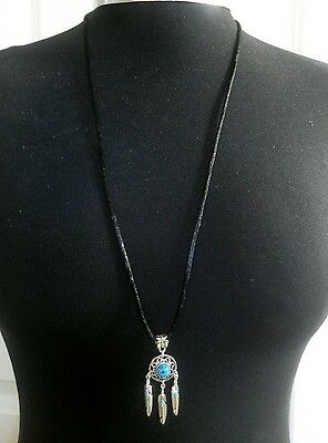 "A Turquoise Dream Catcher Feather Charm Pendant, Long 30"" Black Chain Necklace"