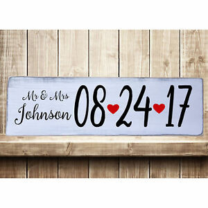 Details About Personalized Mr Mrs W Date Rustic Farmhouse Style Handmade Wood Sign