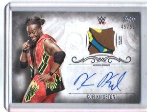 WWE-Kofi-Kingston-2016-Topps-Undisputed-Silver-Autograph-Relic-Card-SN-45-of-50