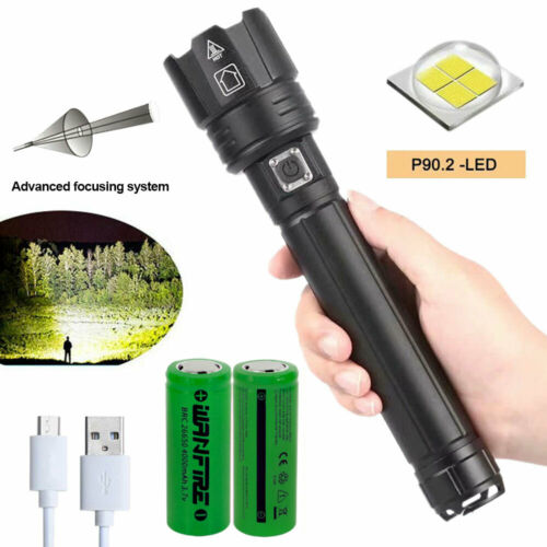 Super Bright XHP160//XHP90.2 LED Flashlight Rechargeable Torch Hunting Lamp 18650