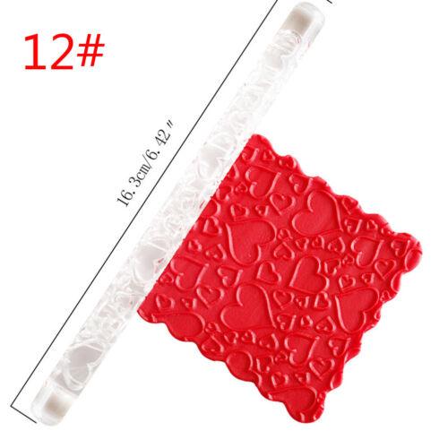 Embossing Acrylic Rolling Pin Fondant Sugar Craft Cake Baking Decorating Tool QN