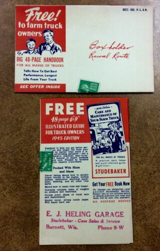 {BJ STAMPS}  Studebaker Farm Truck Care 1945 Guide precancel stamp Burnett Wis