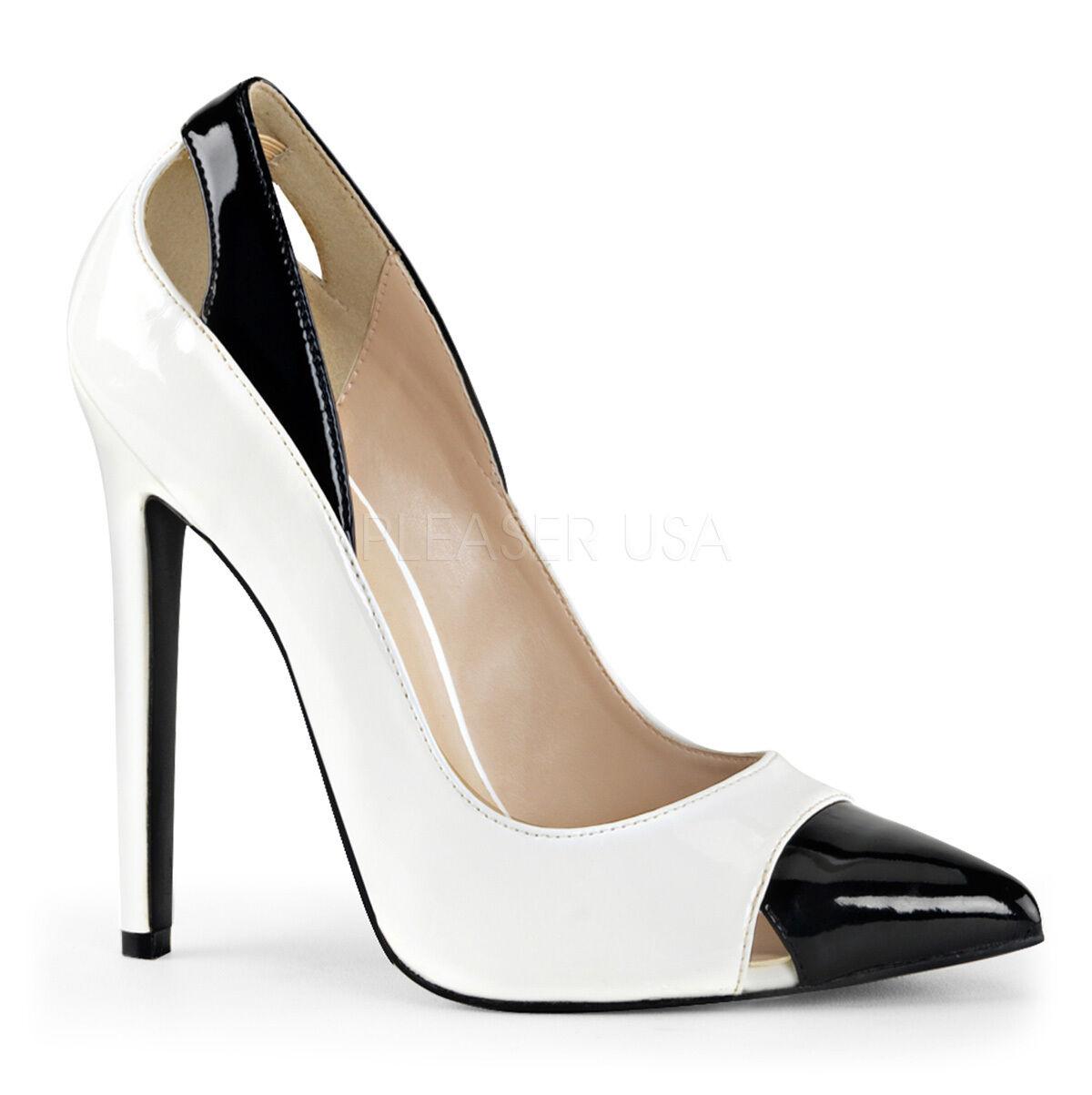 Pleaser sexy 12.7cm Stiletto High Heel sexy Pleaser 22 zweifarbig Hof Lackschuhe Größen 3-11 cd1c41
