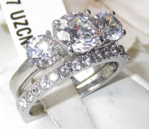 2177 3 Piedra pasado presente Boda Acero Inoxidable Banda Set Anillo Diamante Simulado