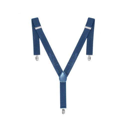35mm Unisex Herren Hosenträger Marineblau Punkt Breit Heavy Duty Strapshalter