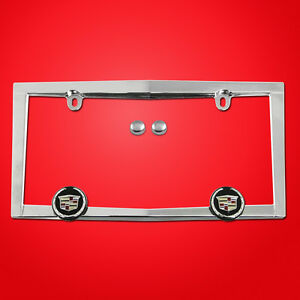 STAINLESS STEEL Chrome Metal License Plate Frame Holder w//Screw caps CADILLAC