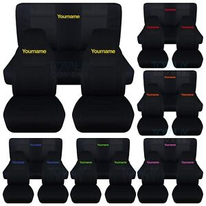 Jeep Wrangler Seat Covers >> Details About Jeep Wrangler Yj Tj Jk Jl 1987 2020 Black Seat Covers W Your Name Front Rear Set