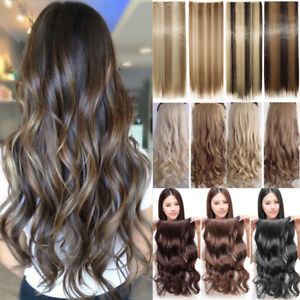 Extra-Long-17-30-034-One-Piece-Clip-In-Hair-Extensions-Brown-Blonde-New-As-Human-PN