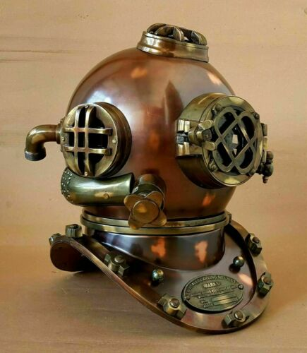 Antique Diving Helmet U.S Navy Mark V Deep SCA Scuba Brown Antique Divers Helmet