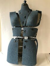 Antique Vtg Dress Form Sewing Mannequin Adjustable Vanity Steampunk Blue Woman