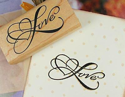 LOVE w/ Heart Wooden Stamp Rubber Craft Favour Scrapbooking Wedding Party Gift