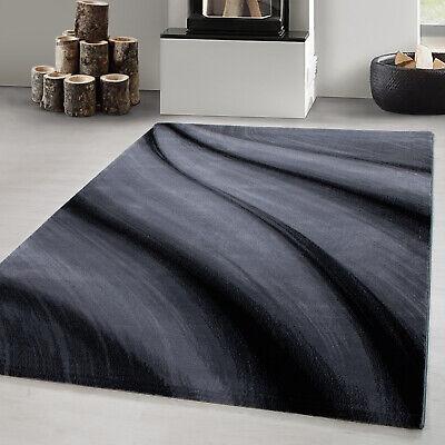 Designer Teppich Modern Kurzflor Abstrakt Wellen Muster Schwarz Lila Weiß