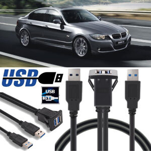 1M-Dual-USB-3-0-A-Male-to-USB-3-0-A-Female-Car-Panel-Flush-Mount-Extension-Cable
