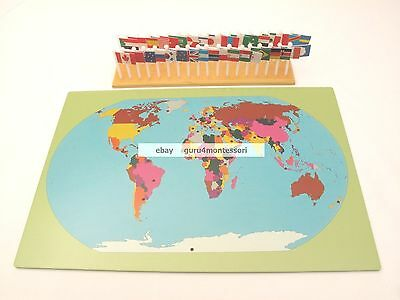 CLEARANCE NEW Montessori Geography Materials - Flag Stand, World Map & 36 Flags