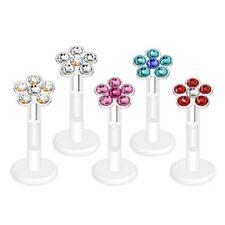 Multi-Gem FLOWER Push-In FLEXIBLE Labret /Monroe LIP CHIN Body Piercing Jewelry