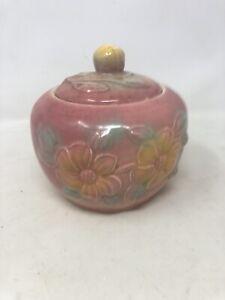 Vintage Mid Century Modern McCoy Style Pink Ceramic Lidded Jar With Flowers USA