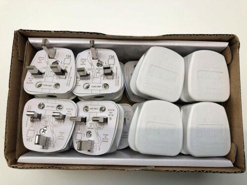 Trade Quality Pack of 16 Status UK Fused 13 Amp White Mains 3 Pin Plugs