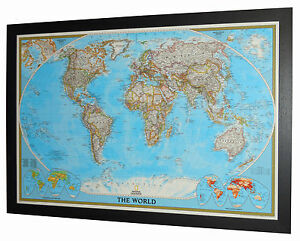 Framed World Map National Geographic Classic 46 X 33 Ebay