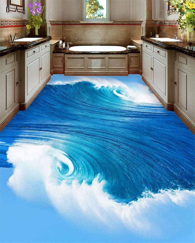 Huge Weiß Waves 3D Floor Mural Photo Flooring Wallpaper Home Print Decoration