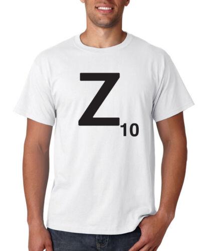 Scrabble carta Z Camiseta Juego Retro Fresco Eslogan Top Damas Y Unisex