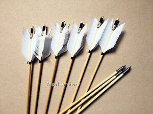 6pcs-Handmade-Flu-flu-Wooden-Arrows-WHITE-feather-for-Longbow-hunting-amp-Shooting