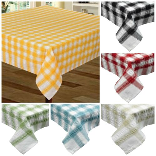 Seersucker Check Stripe Gingham Tablecloth Cotton Dining Kitchen Table Linen
