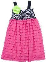Rare Editions Baby Girls 9 Months Zebra Print Eyelash Dress 2pc 9m