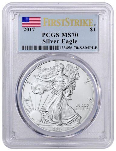 2017 MS-70  PCGS Silver Eagle $1 1 oz Silver First Strike Flag Label