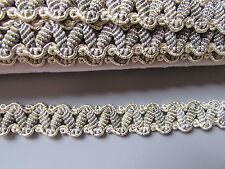Gris & or métallisé Tresse 1.5cm x 1 Mètre Couture/Costume/Loisirs créatifs/