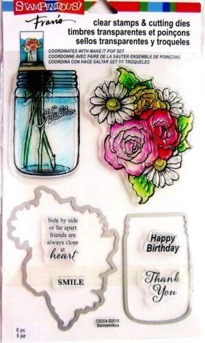 Stampendous Fran/'s Mason Jar /& Flowers Clear Stamp /& Die Cutting Set
