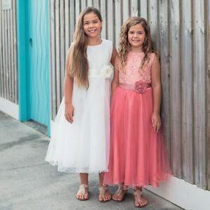 694b0c8c80e4 Flower Girl Dress Communion Confirmation Junior Wedding WHITE IVORY ...