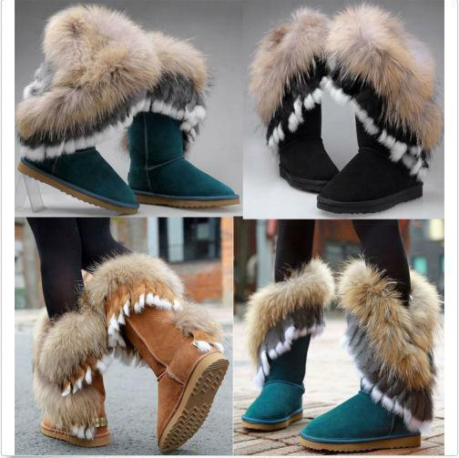 Women's Mid Calf Leather Snow Boots Real Rabbit Fur WInter Fur Lining Boots@