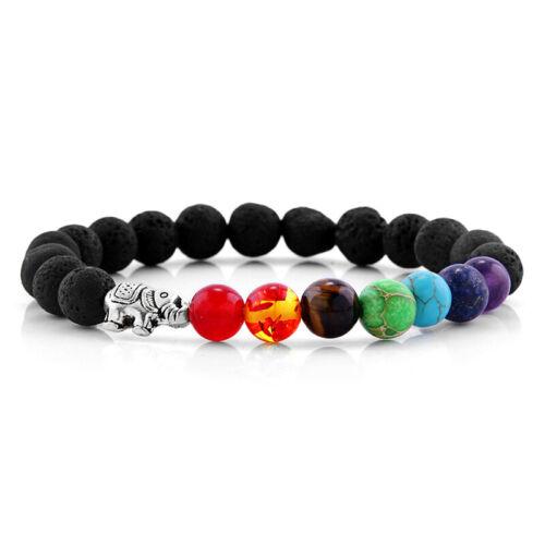 Nouveau 7 Chakra Guérison Équilibre éléphant Charm Lava Pierre Perles Yoga Reiki Bracelet