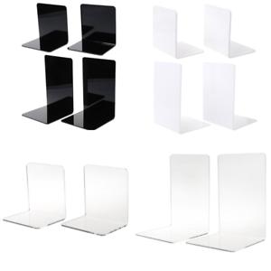 2pcs White Acrylic Bookends L-shaped Desk Organizer Desktop Book Holder School Stationery Office Accessories Desk Accessories & Organizer