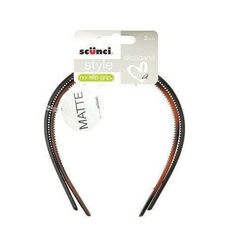 Scunci Style Matte No Slip Grip Skinny Headbands 2pcs NEW