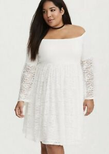 958f9f7a9ae Image is loading Torrid-White-Lace-Off-The-Shoulder-Skater-Dress