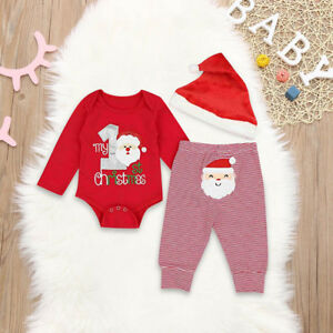8271ad04d Details about My First Christmas Baby Boys Girls Santa Romper Pants Hat PJs Outfits  Clothes