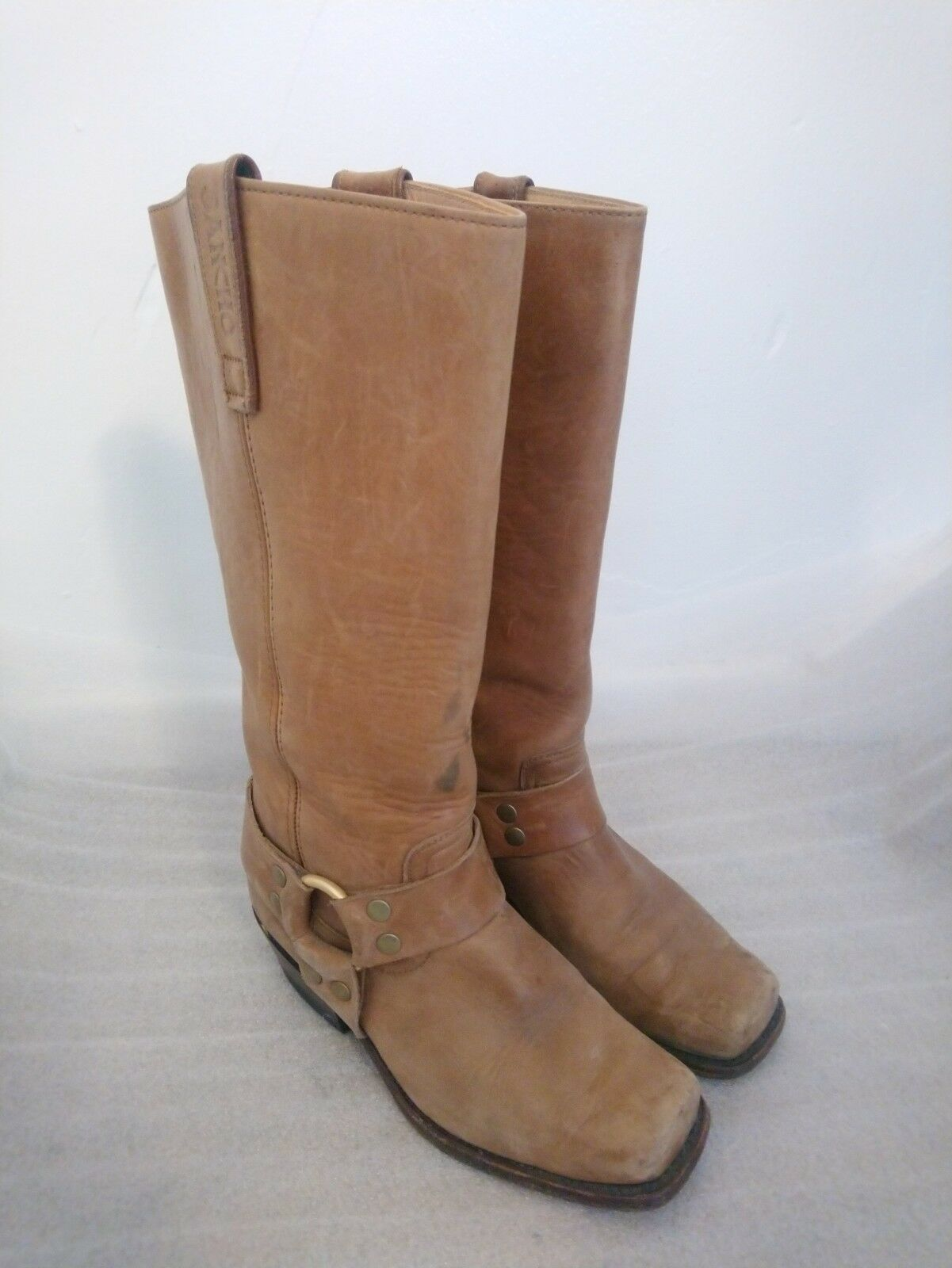 Ladies Sancho Tan Brown Leather Cowboy Boots Size UK 3   EU 36   Biker Western