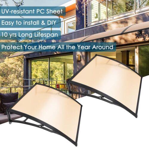 "2Pcs 40/"" x 40/"" Window Door Awning Sun Shade Canopy PC Sheet UV Rain Protection"