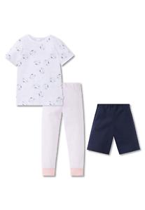 f5ece0560eba67 Details zu Schlafanzug Pyjama 3tlg Hose lang + kurz Katze 104 116 128 140  SCHIESSER Mädchen