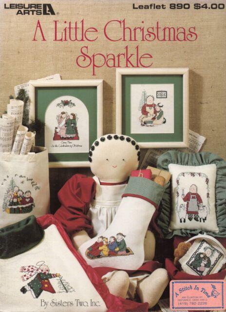 A Little Christmas Sparkle Cross Stitch Book - Leisure Arts #890 - 1990