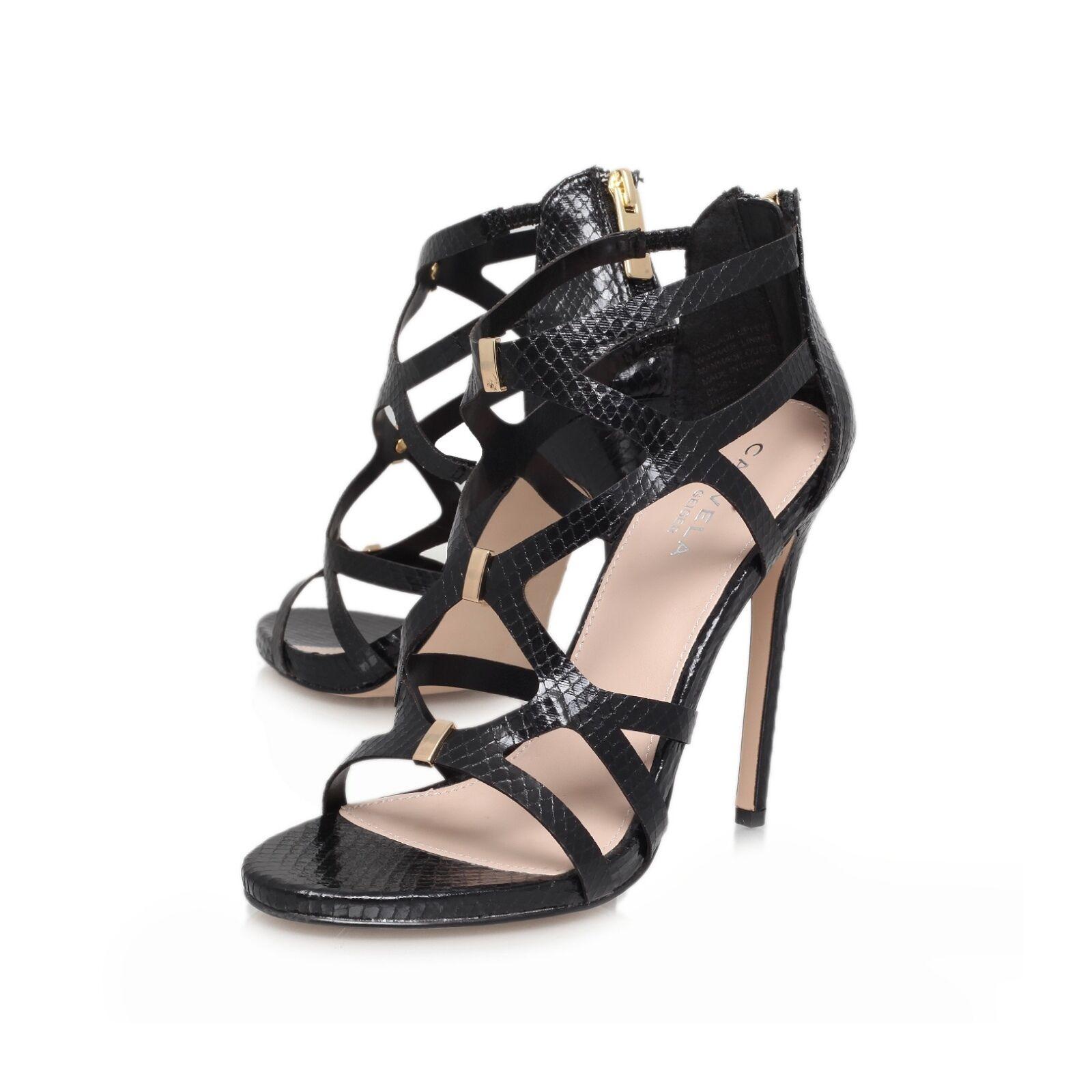 CARVELA BLACK Schuhe .. STRAPPY / STILETTO SANDALS /  UK 7  EU 40 NEW KURT GEIGER