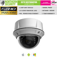 SONY IMX 2MP 2.8-12mm 1080P POE Audio Outdoor Vandal Dome IP Network Camera CCTV