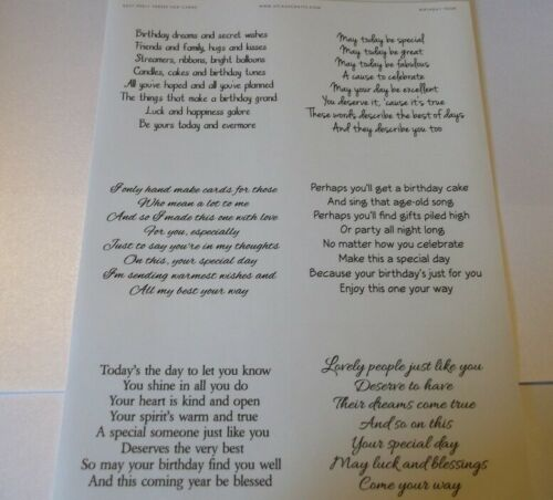 Transparent Verses Easy Peel Off Stickers Sheet Birthday Marraige Deaths /& More