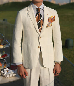 Men-039-s-Leisure-Linen-Suits-Two-Pieces-Formal-Summer-Wear-Wedding-Groom-Tuxedos