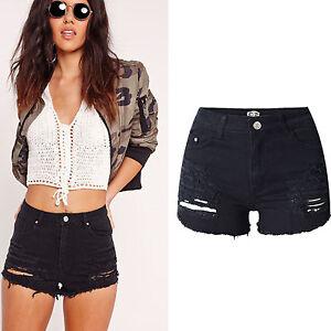 neri allungati Unito denim del delle caldi degli Pantaloni jeans strappati donne Regno signore dei shorts del delle UTaPxvnS