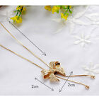 Hot Sale Crystal Bowknot Pendant Long Necklace Rhinestone Butterfly Chain