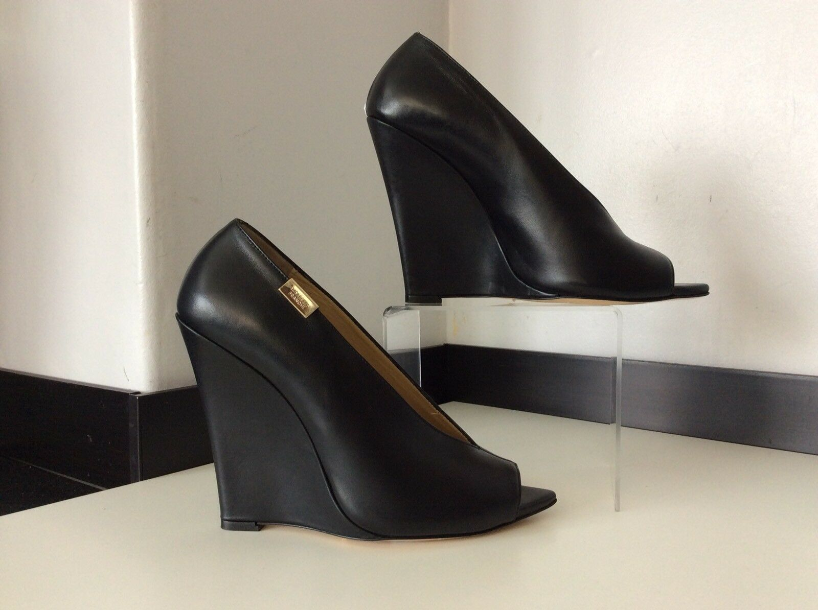 Elizabeth Franchi NEW schwarz Peep Leder Peep schwarz Toe Schuhes Größe 40 Uk 7 Wedge Heels 7587d1