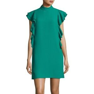 377b87f6a5 Kate Spade Green Ruffle Trim Women s Size 8 Mock-Neck Sheath Dress ...