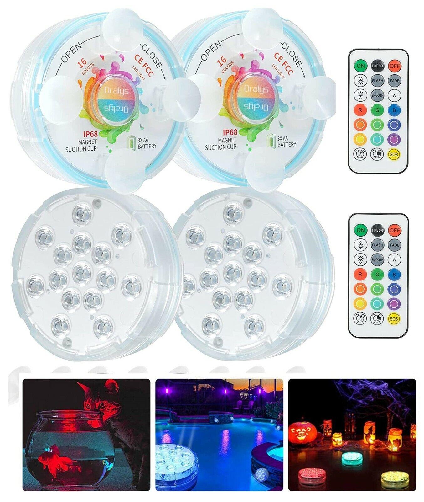 4 Underwater RGB 15 LED Lights Waterproof IP68 Hot Tub Bath Pool Pond Tank Timer